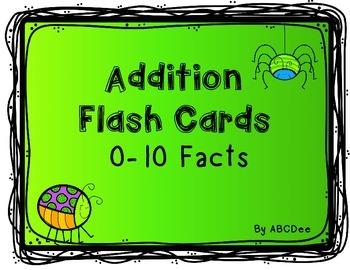 Addition Flash Cards for Facts 0-10