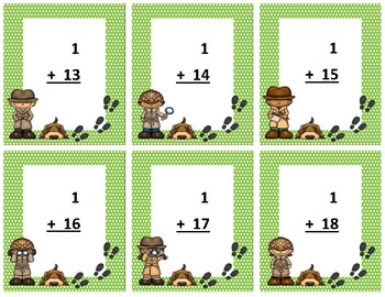 Addition Flash Cards~ sum to 20 ~ Green Polka Dot Detective