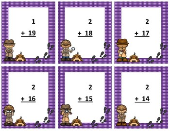Addition Flash Cards~ sum to 20 ~ Purple Polka Dot Detective