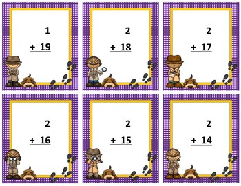 Addition Flash Cards~ sum to 20 ~ Purple Polka Dot with Gold Trim Detective