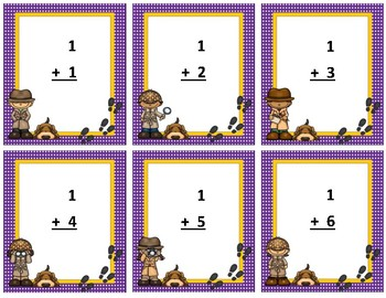 Addition Flash Cards~ sum to 20 ~ Purple Polka Dot with Go