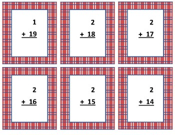 Addition Flash Cards~ sum to 20 ~ Red Plaid