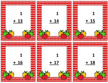 Addition Flash Cards~ sum to 20 ~ Red Polka Dot Apple Buddies