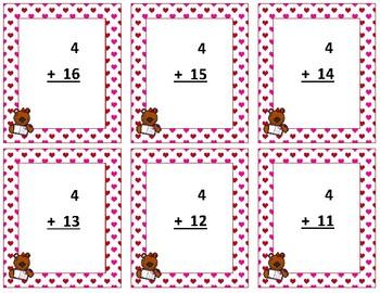 Addition Flash Cards~ sum to 20 ~ Valentine Teddy Bear