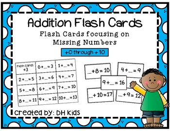 Addition Flash Cards with Missing Numbers - Math Flash Cards