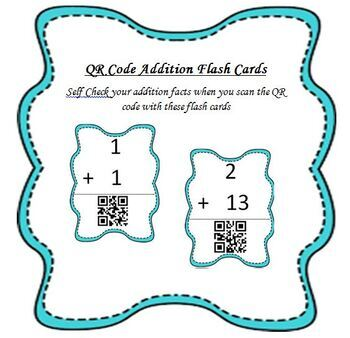 Addition Flash Cards with QR Code Answers - Short Version