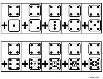 Addition Flashcards 1-9 facts based off Domino/Dice for Autism