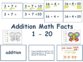 Addition Math Facts 1 - 20 Flashcards - math, task cards, worksheets 2020-2021