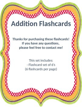 Addition Flashcards 6