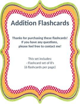 Addition Flashcards 8