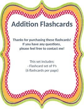 Addition Flashcards 9