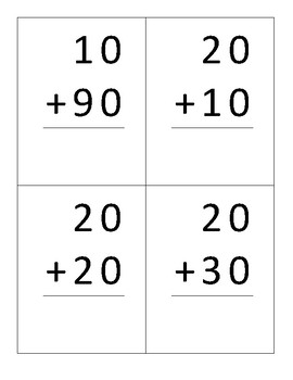 Addition Flashcards Multiples of Ten