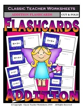 Addition Flashcards- Cut & Fold- Sums to 21-Kindergarten/Grade 1/1st Grade