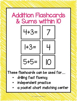 Addition Flashcards and Sums within 10