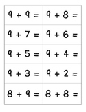 Addition Flashcards for sums 11 to 20