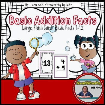 Addition Flashcards with Basic Facts --- Large Flashcards
