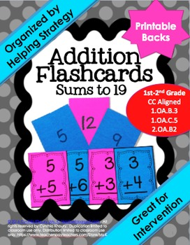 Addition Flashcards with Printable Backs Organized by Help