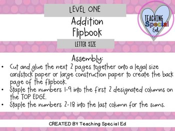 Addition Flipbook - Level ONE