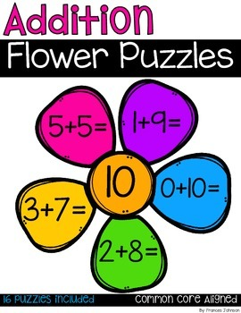 Addition Flower Puzzles