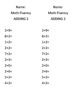 Addition Fluency 0-9