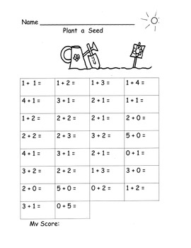 Addition Fluency Add Sums to 5 Kindergarten Common Core K.OA.5 Planting Theme