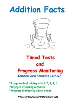 Addition Fluency:  Add within 10 Timed Tests & Progress Monitoring
