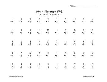Addition Fluency: Addend 4 Addition Worksheets