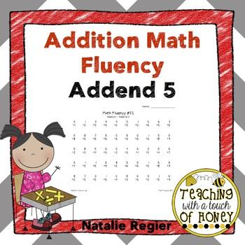 Addition Fluency: Addend 5 Addition Worksheets