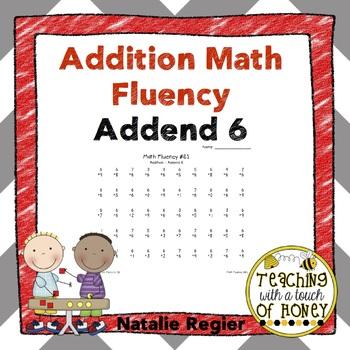 Addition Fluency: Addend 6 Addition Worksheets