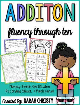 Addition Fluency Assessments: Sums to 10 With Extras!