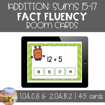 Addition Fluency - Boom Cards - Sums of 15, 16, & 17