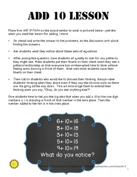 Addition Fluency Boot Camp Adding Ten to One Digit Numbers (Free)