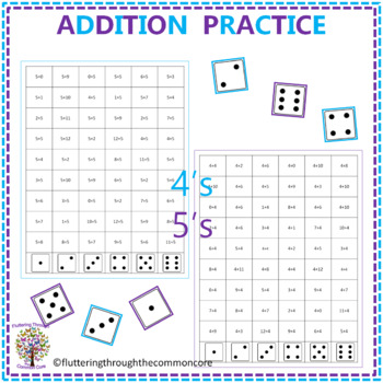 Addition Fluency Worksheets Dice Game