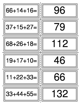 Addition Fluency Flashcards (More than 2 Addends) 2.4B