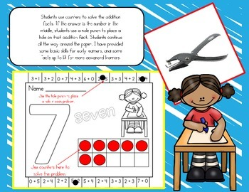 I Can Add! Addition Fluency Hole Punch or Clothespin Activity Mats