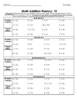 Basic Addition Fluency Homework by STRATEGY (Basic Strategies)- 24 weeks