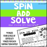 """Addition Fluency Practice Game """"Spin Add Solve"""""""