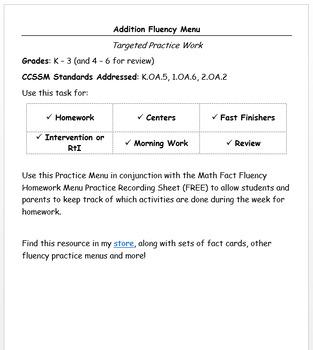 Addition Fluency Practice Menu - EDITABLE VERSION