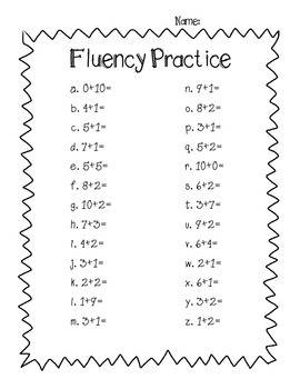 Addition Fluency Practice - Plus 1 Plus 2 and Ten Combinations