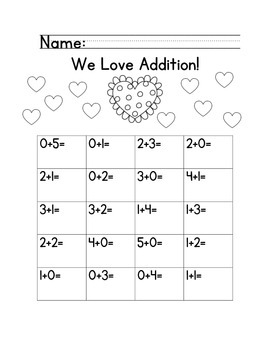 Addition Fluency Practice Up to Five