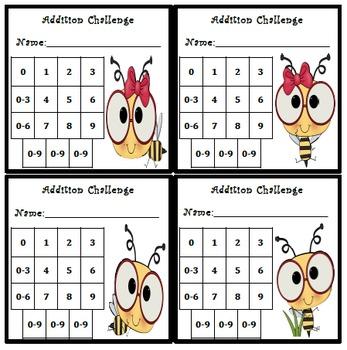 Addition Fluency Progress Chart (Bee Themed)