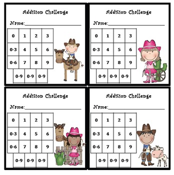 Addition Fluency Progress Chart (Cowboy & Cowgirl Themed)