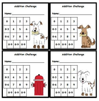 Addition Fluency Progress Chart (Dog Themed)
