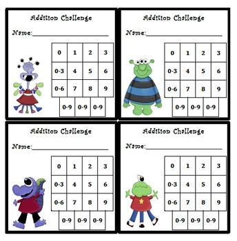 Addition Fluency Progress Chart (Monsters Themed)