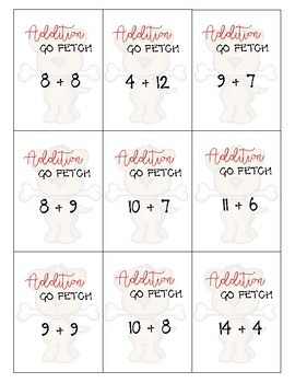 Addition Fluency and Mental Math Game- Go Fetch