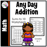 Addition Worksheets Facts to 10 Printable Distance Learning