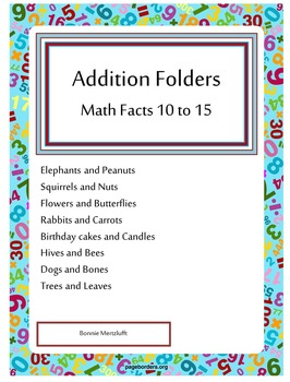 Addition Folders Math facts 10 to 15
