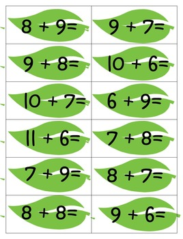 Addition  Folders Math facts 15 to 20
