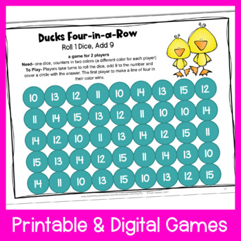 Addition Four-in-a-Row: Addition Game for Adding 1 - 10