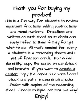 Addition Fraction Frenzy